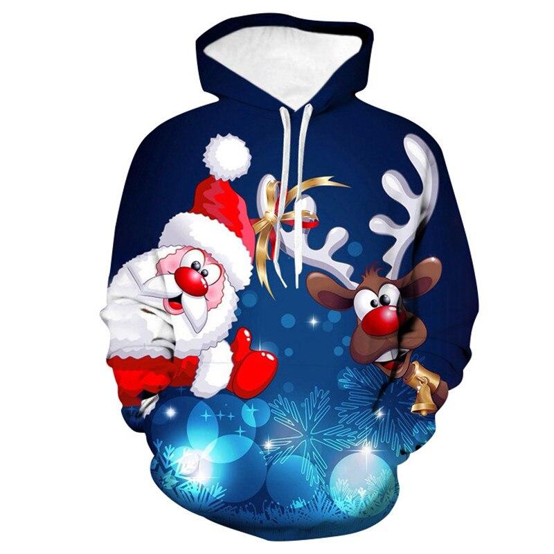 2019 suéter de Navidad de dibujos animados de Santa Claus Elk estampado de cuello redondo de gran tamaño con capucha suéter pareja Pullover ropa de Navidad