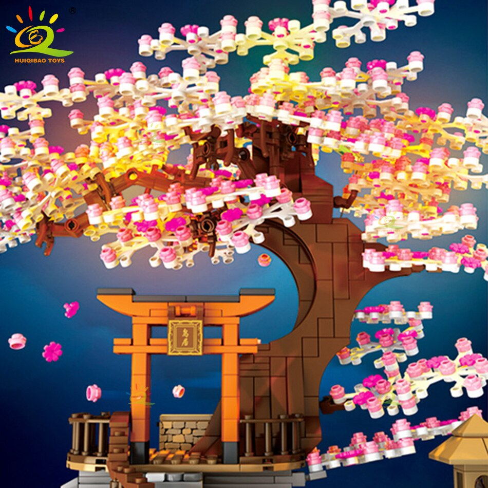HUIQIBAO 1167Pcs Cherry Shrine Torii City Architecture Street View Building Blocks Sakura Tree Lighting Bricks Figures Toys Kid