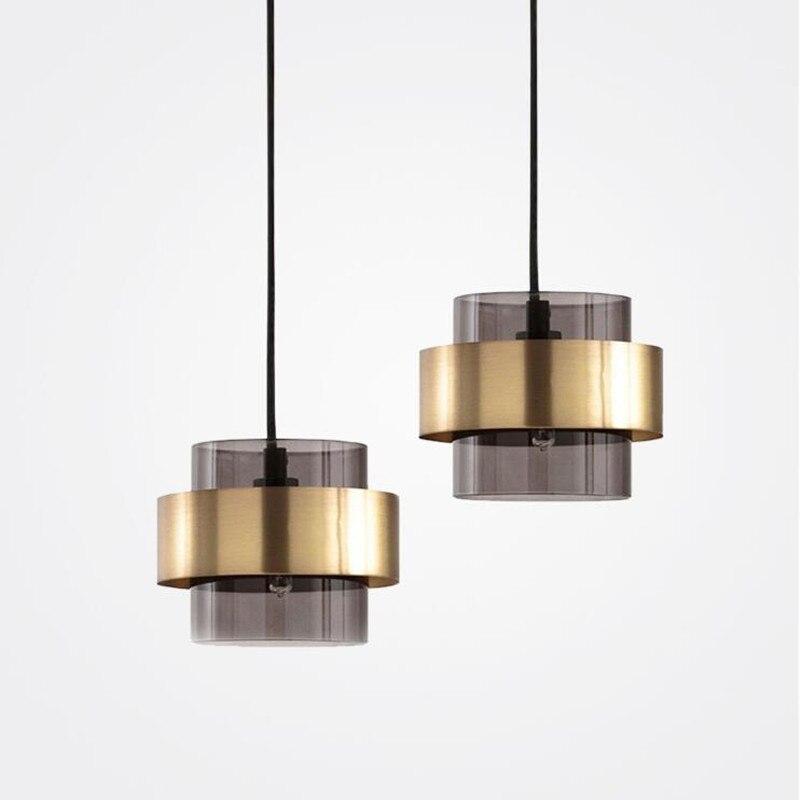 ما بعد الحداثة الزجاج قلادة حديدية أضواء الإبداعية نوم السرير ضوء مطعم التلفزيون حائط الخلفية تركيبات إضاءة تعليق
