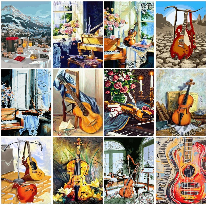 AZQSD DIY pintura por números guitarra acrílico pintura al óleo cuadros pintura al óleo por números paisaje DIY decoración sin marco