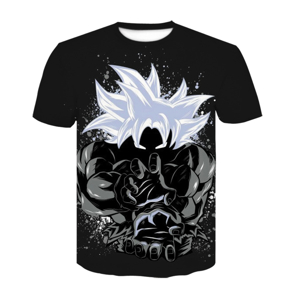 Nueva camiseta de Dragon Ball Z Goku 3D, camiseta negra de manga corta con cuello redondo, camiseta de verano Saiyan Vegeta Harajuku, camiseta de ropa de marca