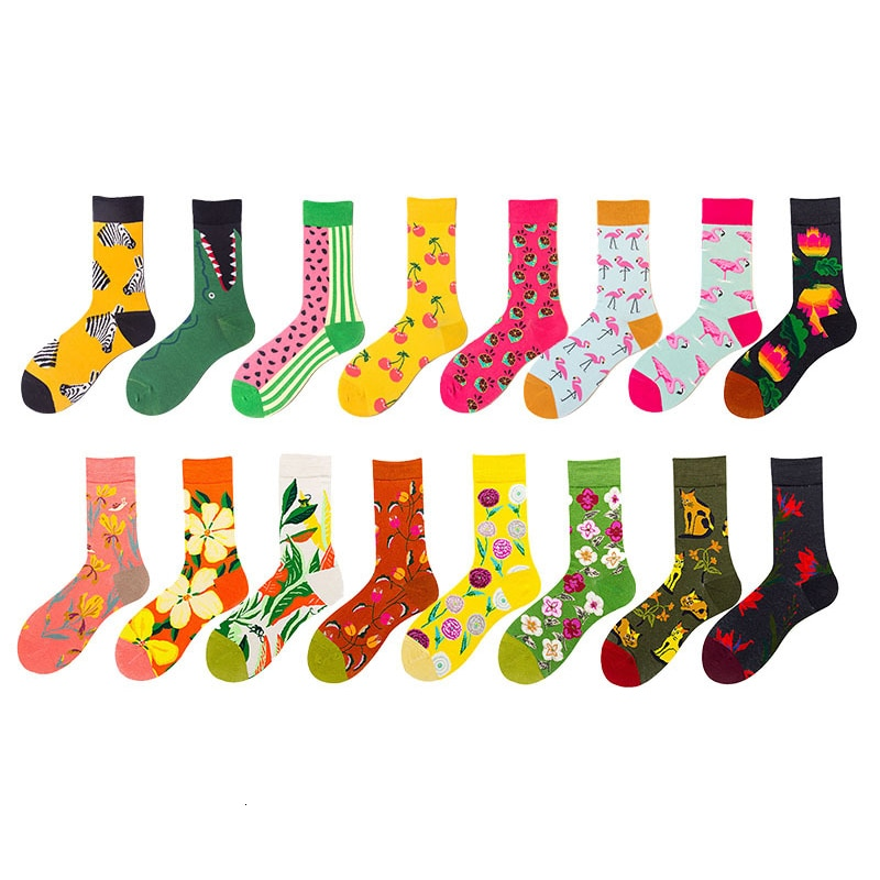 Women Socks Cartoon Flamingo Zebra Flower Plant Kawaii Funny Happy Casual Female Cotton Hosiery Streetwear Skate Harajuku