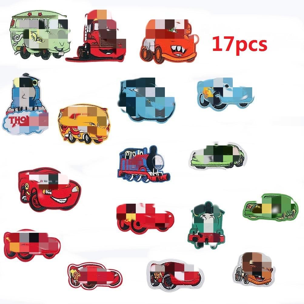 Оптовая Продажа 17 типов мультяшных автомобильных вышитых тканевых наклеек, Глажка одежды, Железный патч. Декоративные Значки для шитья