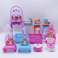 2021 latest fashion barbies accessories crib toilet bedroom amusement park combination plastic children interactive toys