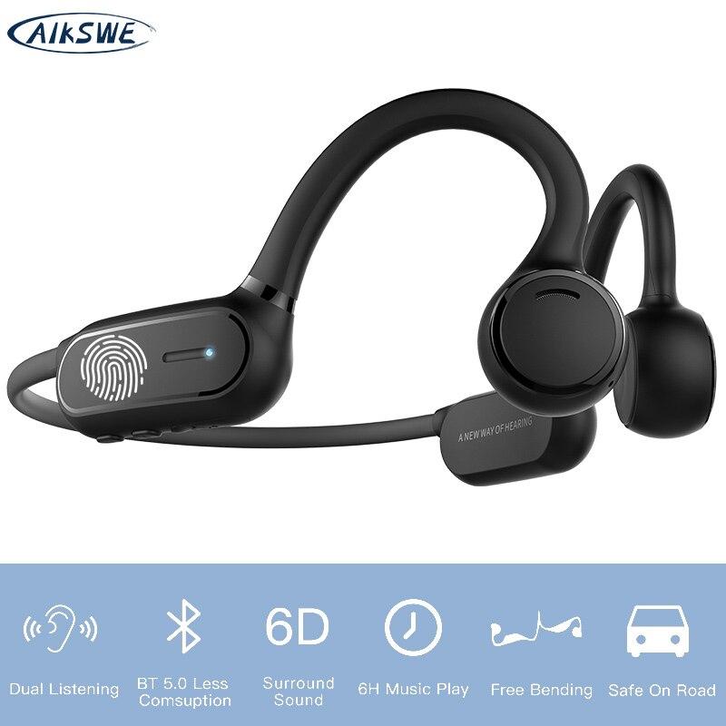 AIKSWE سماعة رأس مزودة بتقنية البلوتوث سماعة رياضية لاسلكية مفتوحة الأذن IPX4 الصوت المحيطي سماعات ستيريو حر اليدين لركوب الدراجات الجري