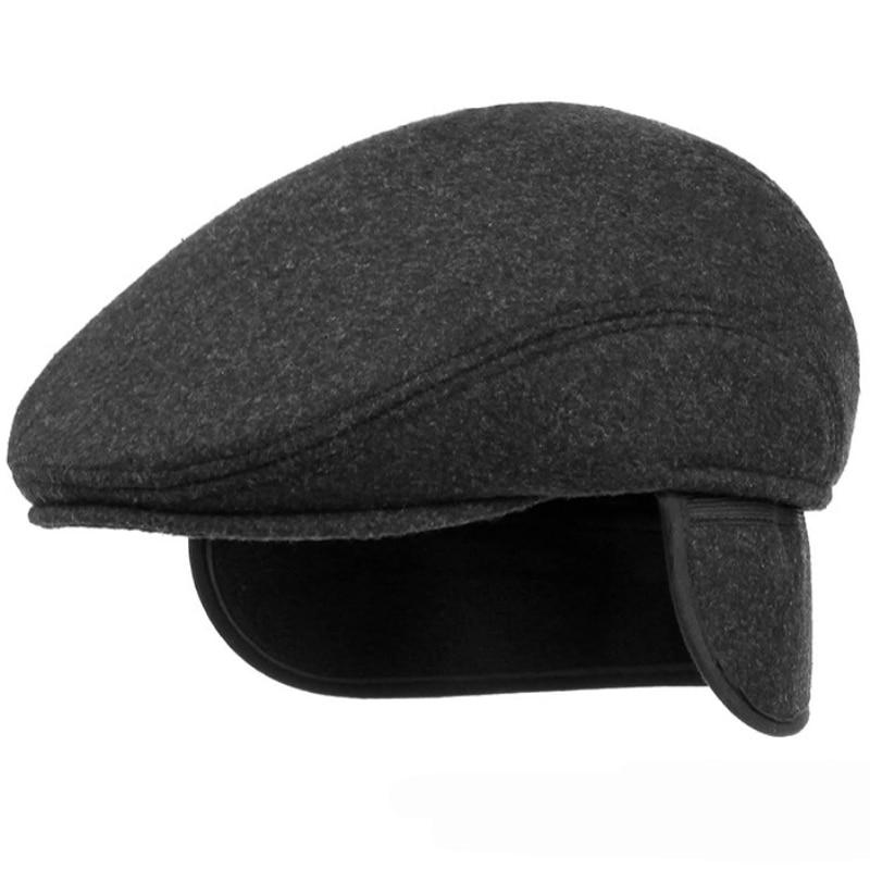 HT1405 Warm Winter Hats with Ear Flap Men Retro Beret Caps Solid Black Wool Felt Hats for Men Thick Forward Flat Ivy Cap Dad Hat