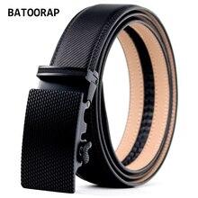Cinturón de cuero con hebilla de Metal para hombre, cinturón de cuero de vaca de lujo para cintura, trinquete, correa negra, estilo moderno