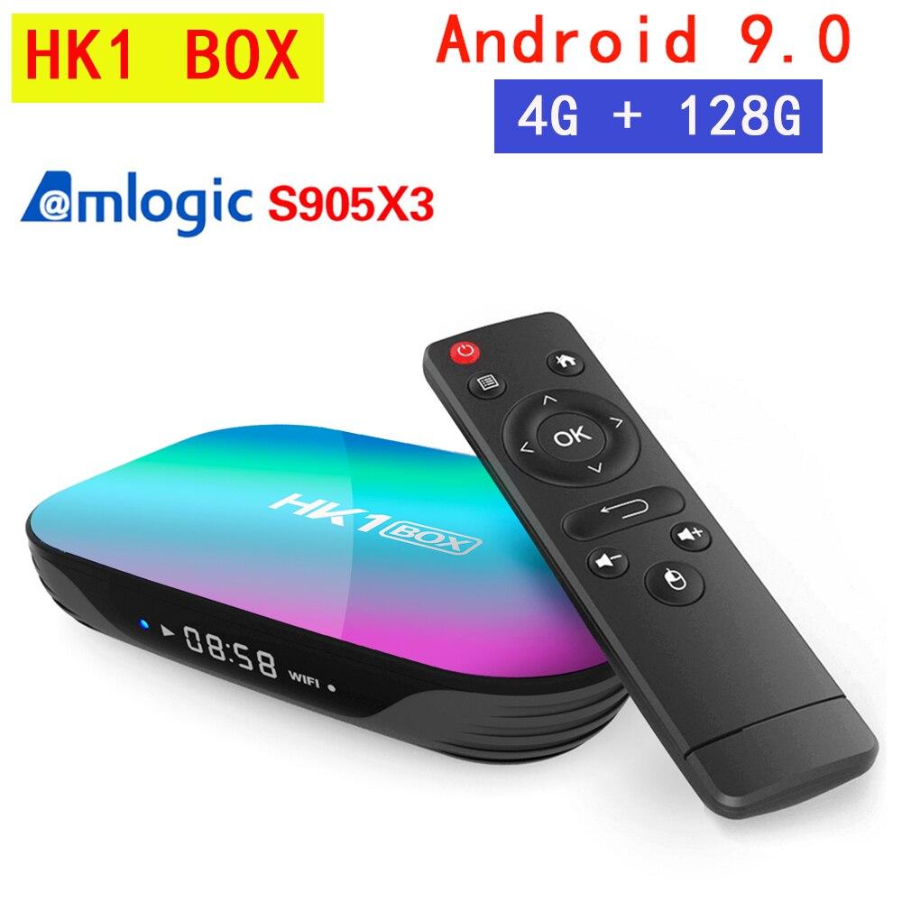 Hk1 caixa de tv android 9.0 smart 4gb ram 64gb rom 128gb amlogic s905x3 2.4g & 5g wifi bt 4k 8k media player conjunto caixa superior pk x96 max