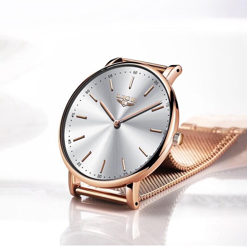 Reloj Mujer 2020 LIGE Women Fashion Rose Quartz Watch Lady Mesh Watchband High Quality Casual Waterproof Wrist Watch Women Watch enlarge