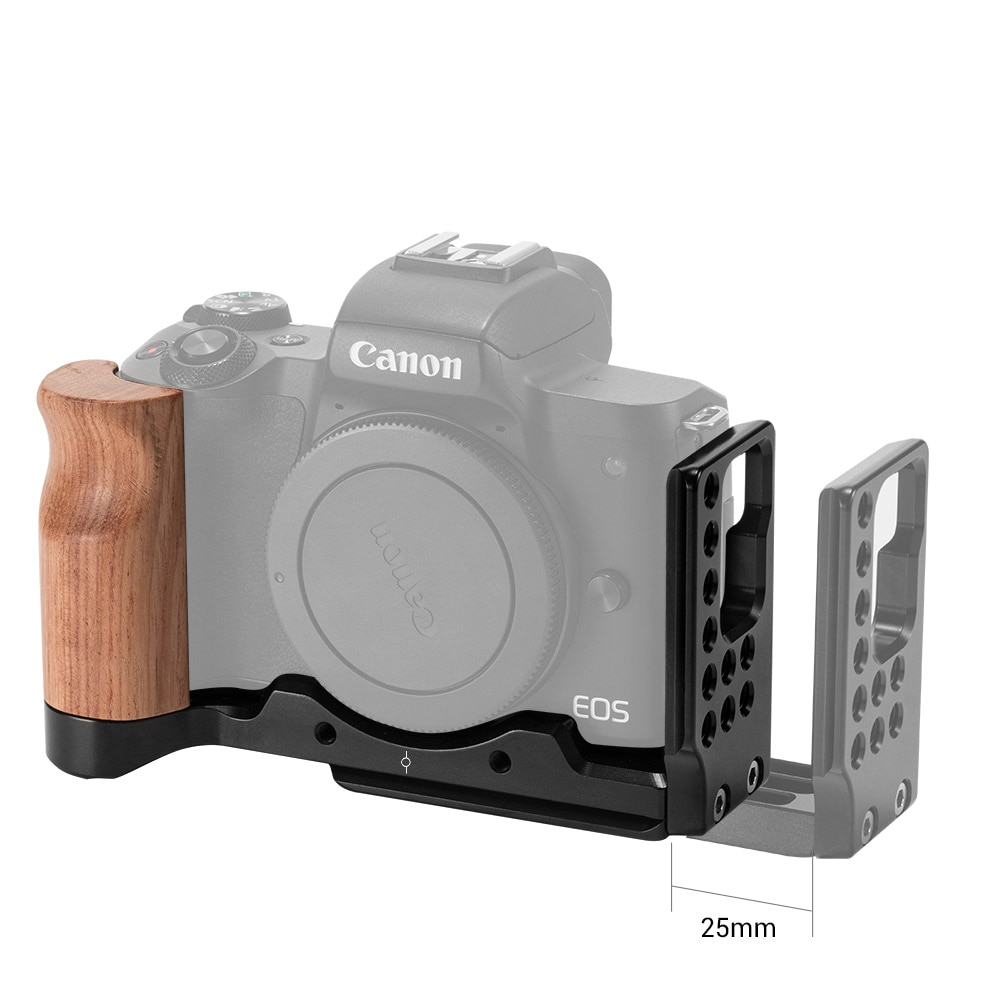 SmallRig M50 L Plate L-Bracket for Canon EOS M50 Camera With Wooden Handle Grip Arca Style Quick Plate  2387 enlarge