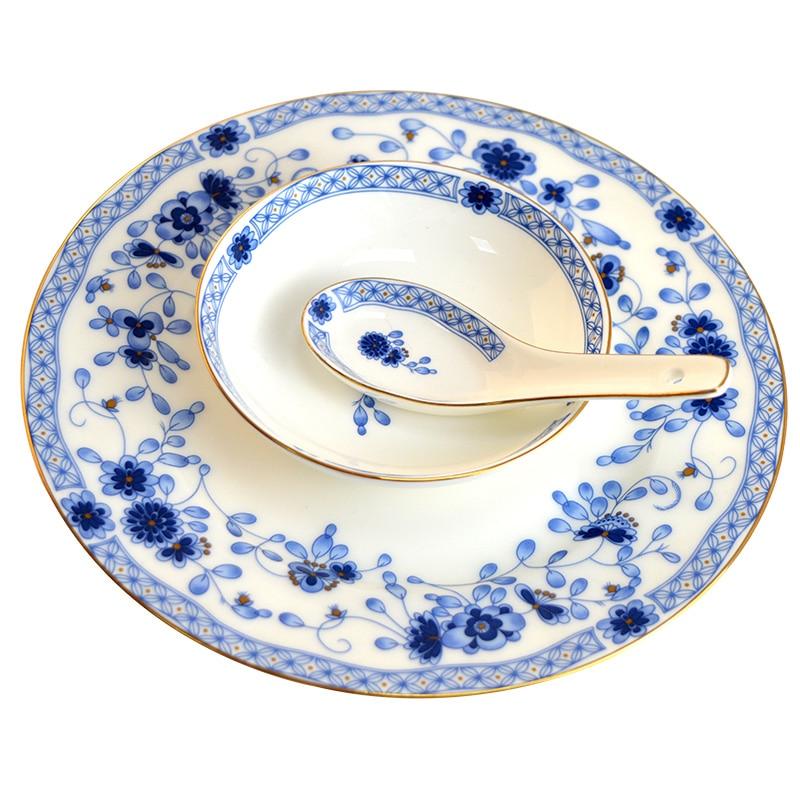 Wedding guci bone china tableware bowl  dish set household combination Chinese ceramic plate bone china spoon noodle soup bowl