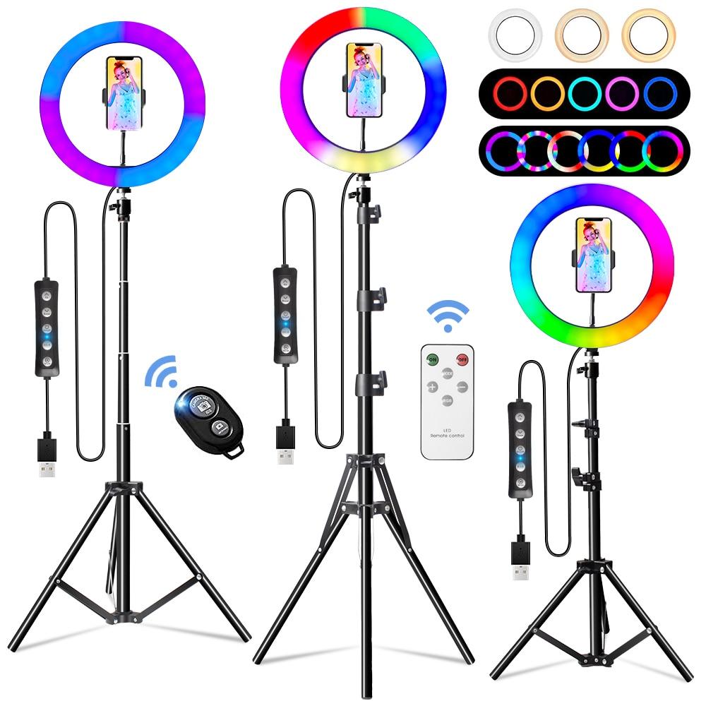 Anel de Luz Anel do Obturador Lâmpada para Streaming Polegada Rgb Cores Selfie Anel Luzes Tripé Remoto Vídeo Youtube 2021 26cm 10 45