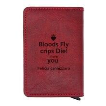 Verset de la Bible «sangs mouche Crips Die l love you Felicia cannizzar» conception Rfid carte de crédit en cuir portefeuilles