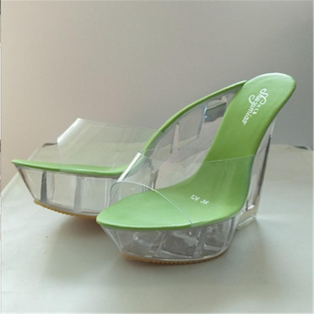2021 جديد إمرأة واضح شفاف إسفين كعب صنادل أرضية المفتوحة تو النعال أحذية أنيقة كريستال عالية 10 سنتيمتر مضخات زائد 34-43