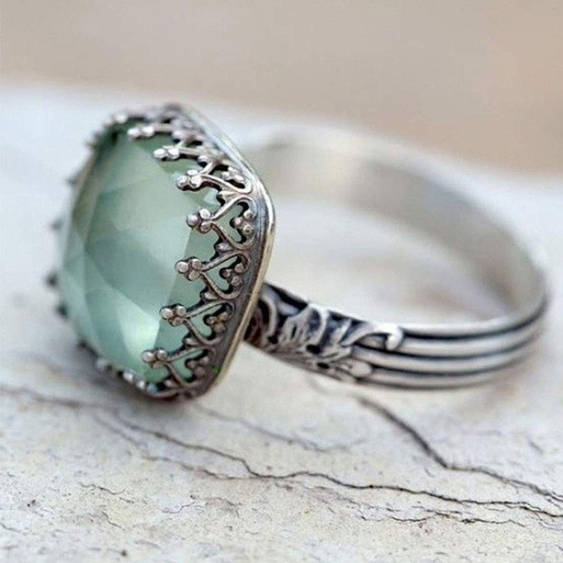 Floral natural peridot antigo anel para mulher simples jóias promessa data presente noivado casamento