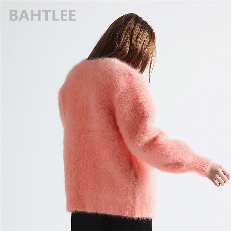 BAHTLEE Winter Women's Angora Cardigans Sweater Wool Knitted Mink Cashmere O-Neck Pearl Button Pocket Thick Keep Warm enlarge