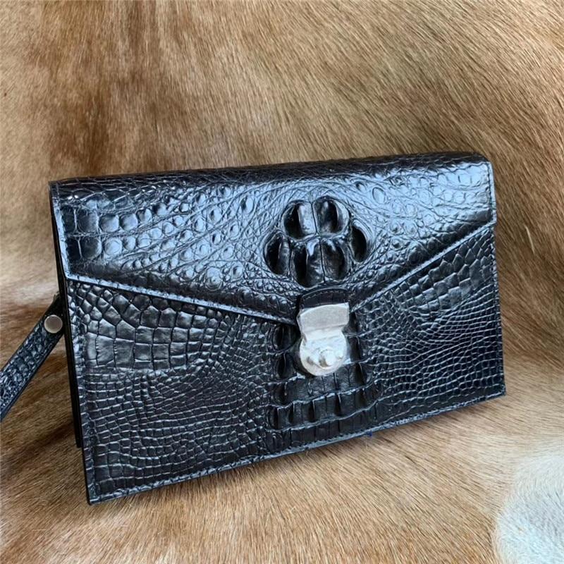محفظة رجالية من جلد التمساح الأصلي ، حقيبة بطاقات كبيرة ، مغلف ، قفل مفتاح ، غريب