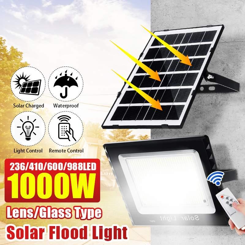 250 واط 400 واط 600 واط 1000 واط الشمسية LED كشاف ضوء مع جهاز التحكم عن بعد الشمسية الجدار مصباح مقاوم للماء IP67 في الهواء الطلق حديقة المشهد الإضاءة