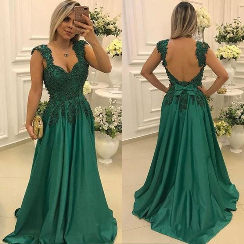 Verde Madre de la novia vestidos para bodas encaje correas espaguetis con cuentas noche Prom novio vestidos de madrina