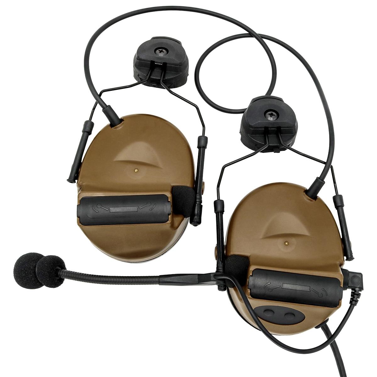 COMTAC II Helmet Bracket Version Headphones Pickup Noise Reduction Hearing Protection Tactical Headset CB +U94 kenwood 2 pin ptt enlarge