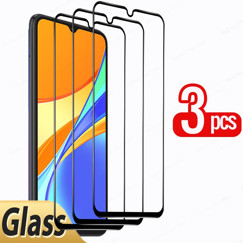 3 Pcs Screen Protector For Xiaomi Redmi 9C NFC Tempered Glass Film For Redmi 9A 9T 9C 9 C Full Cover Black Edge Protective Glass