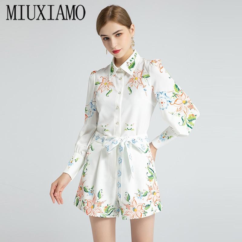 MIUXIMAO أفضل نوعية 2020 مكتب سيدة الخريف Twinset أنيقة نصف كم بلوزة ورقة زهرة طباعة الدعاوى النساء Vestido مع حزام