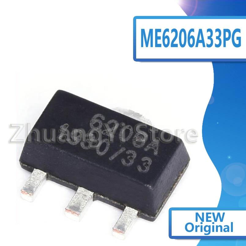 100pcs/lot New ME6206 ME6206A33PG SOT-89 Step-Down Regulator Chip