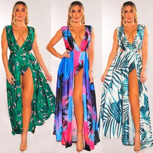 2021 new women's fashion sleeveless split V-neck printed Dress Free shipping
