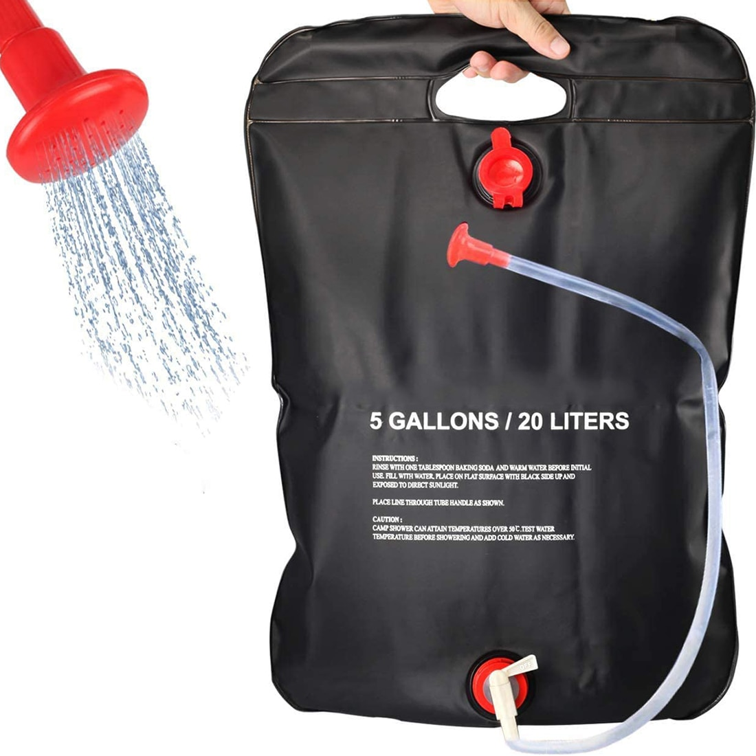 مجموعة حقيبة استحمام للتخييم 5 جالون/20L الشمسية المحمولة حقيبة مع التبديل خرطوم و دش رئيس للخارجية التنزه نزهة السباحة