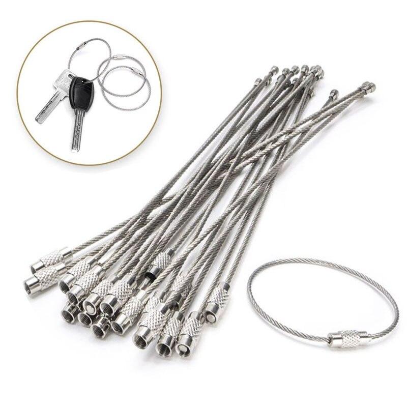 10 Uds. Llavero EDC de 1,5/15cm, cuerda de acero inoxidable, Cable de alambre, dispositivo de bloqueo, anillo, llavero, círculo, utensilio para colgar en el campo