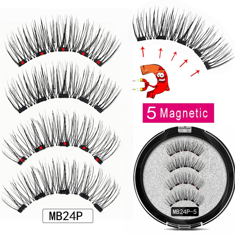 MB 5 Magnetic eyelashes Eye Shadow with handmade 3D/6D faux cils magnetique False magnet Mink lashes + tweezers+Eye Shadow