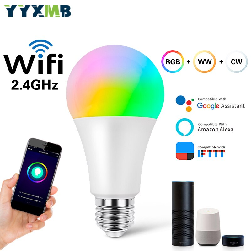YYXMB lampe LED intelligente tuya WiFi E27 9W ampoule RGBCW réglable Compatible Amazon ECHO/Google Home/IFTTT commande vocale