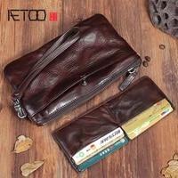aetoo original handmade genuine leather long wallet vintage wrinkled leather multi function large trend buckle wallet men