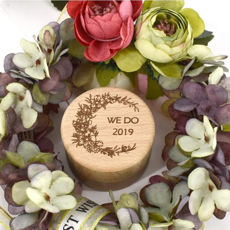 Caja de anillo de boda personalizada, caja de anillo de boda personalizada, caja de portador de anillo de madera, caja de portador de anillo grabada rústica