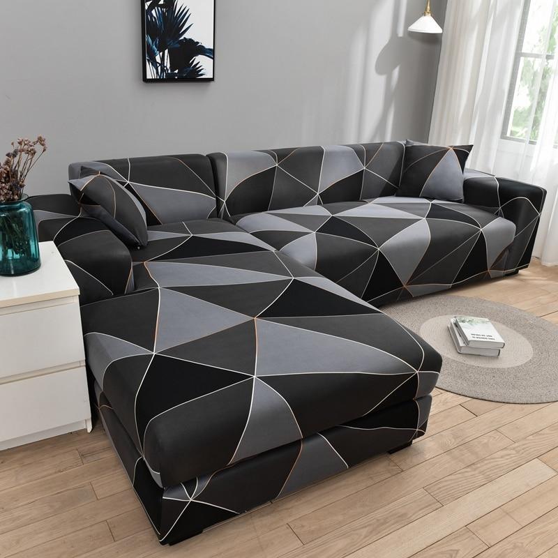 Square lattice printed L shape sofa covers for living room sofa protector anti-dust elastic stretch covers for corner sofa cover