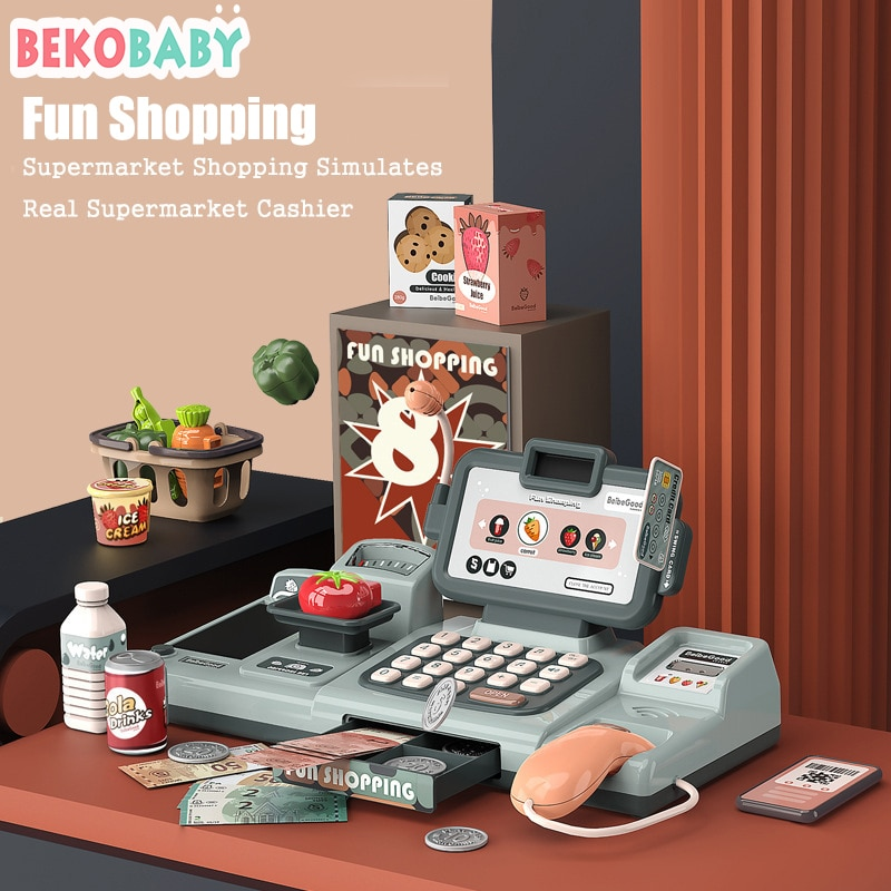BEKOBABY 25Pcs/Set Mini Electronic Supermarket Cash Register Toys Pretend Play House Learning Educational Cashier Toys For Kids connect the pos machine before the use of cash used in supermarket restaurant cashier ek330