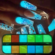12 Kleur/Set Fluorescentie Nail Glitter Poeder Licht Lichtgevende Ultrafijne Gloeien In Het Donker Pigment Neon Fosfor Nail Dust trys