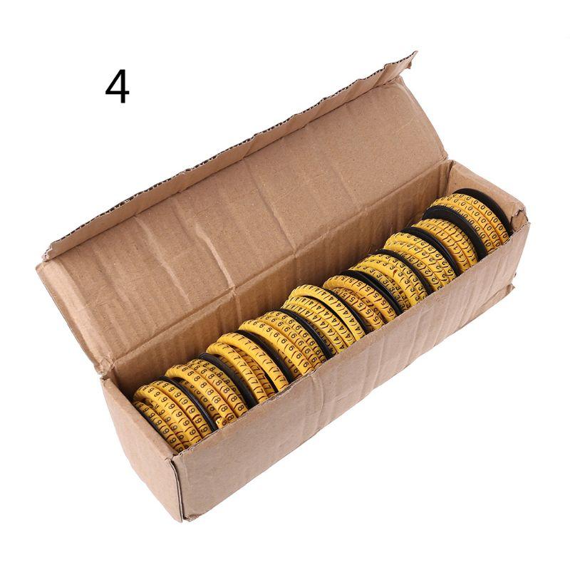 1 caixa 1.5/2.5/4/6/10mm preto e amarelo quadrado fio cabo marcador flexível pvc cabo manga número 0-9 impressão