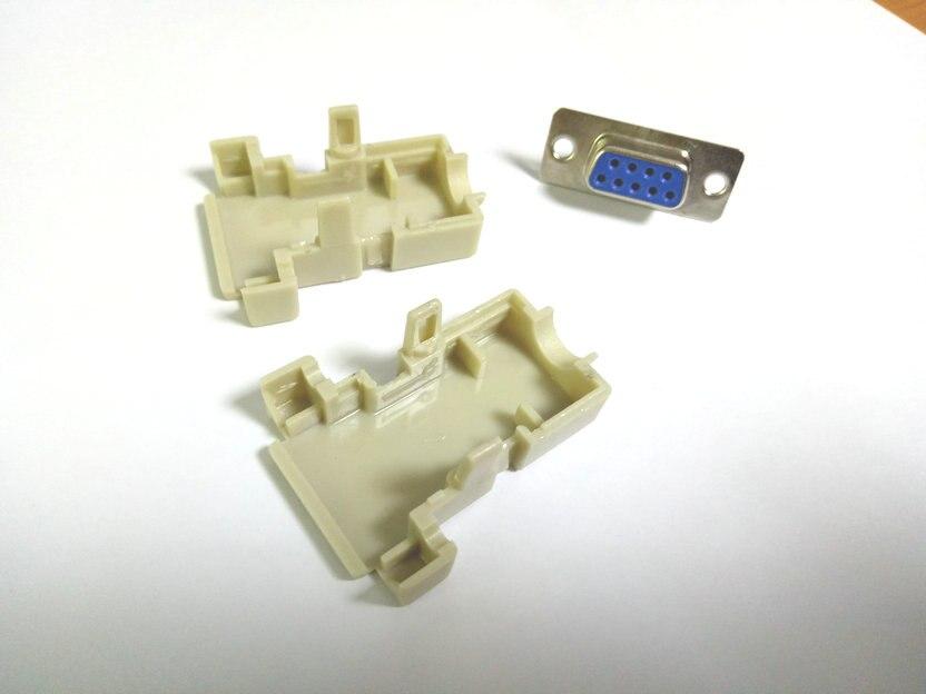 1000 مجموعة الكثير 2 صف DB9 D-الفرعية 9pin أنثى الهيكل اللحيم المسلسل ميناء البلاستيك هود موصل للكمبيوتر استخدام بيع