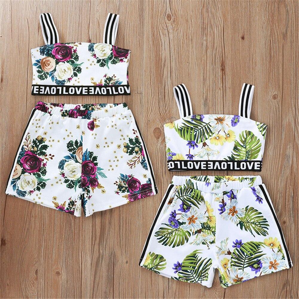 Kleinkind Mädchen Kleidung Sets Sommer Kinder Gestreiften Hosenträger Tops + Kurze Hosen 2Pcs Outfits Baby Mädchen Wecken Druck Kleidung anzug