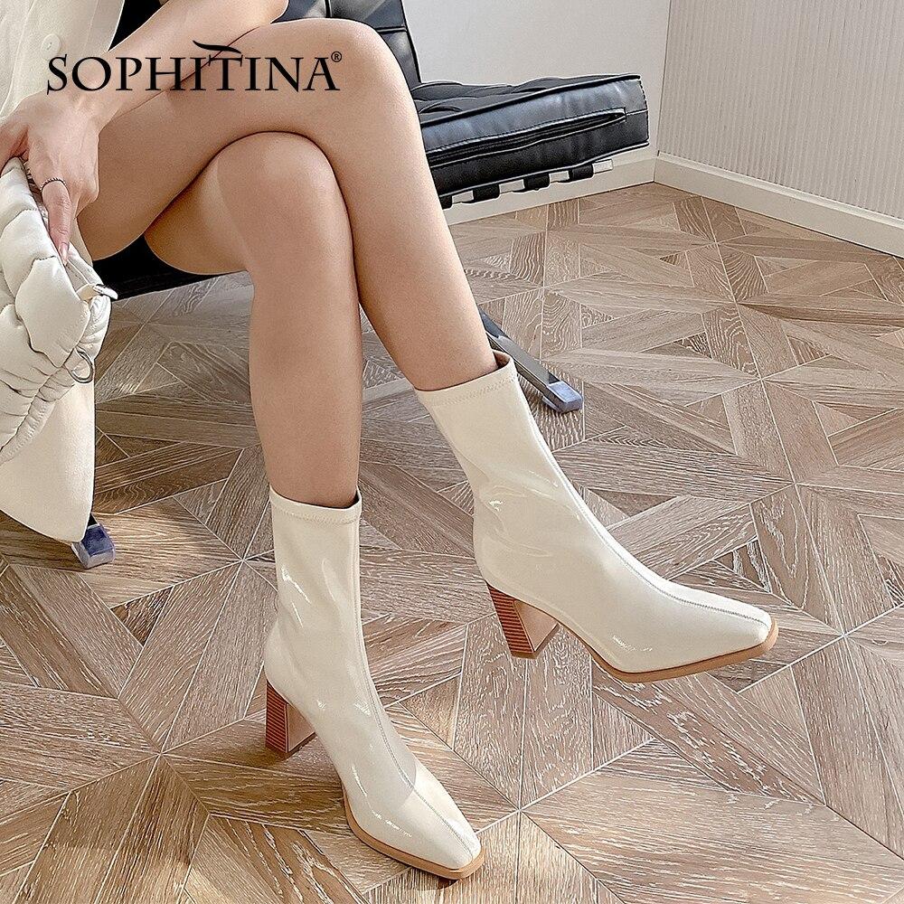سوفيتينا أحذية نسائية أنيقة الكلاسيكية ليتل ساحة تو الأوسط أحذية عالية الجودة براءات الاختراع والجلود المضادة للانزلاق السيدات الأحذية SO572