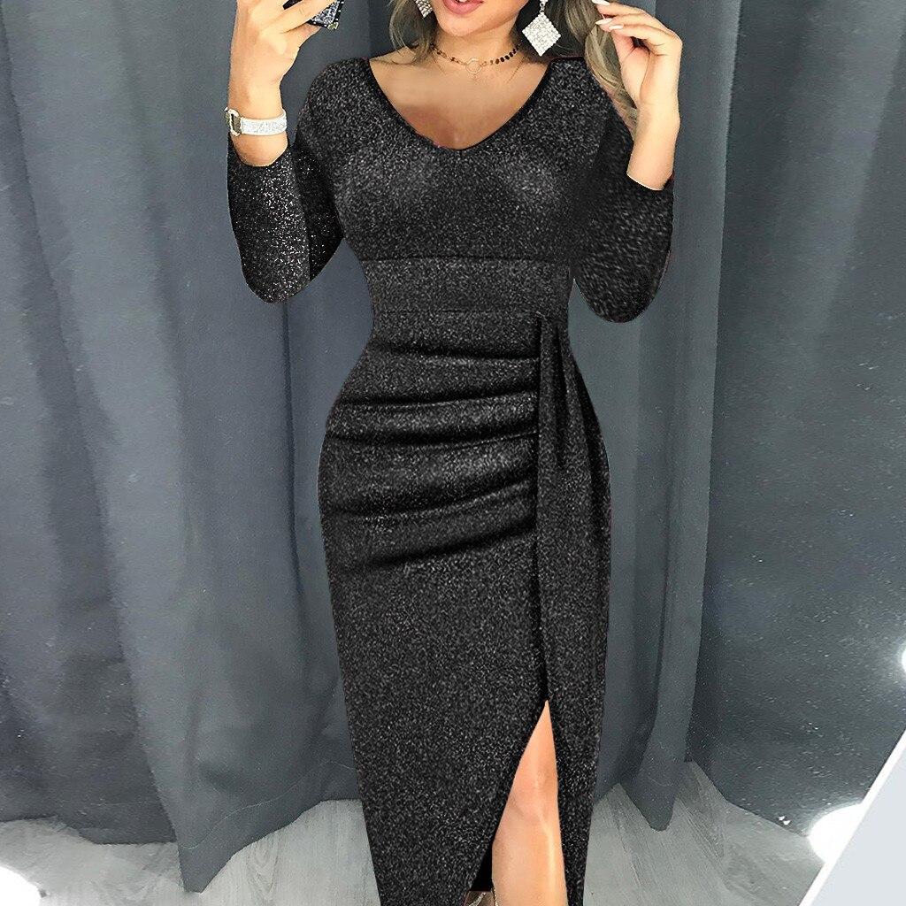 Vestido de mujer moda mujer cuello en V alta hendidura ceñido de manga larga para fiesta elegante trajes Bodycon Sexy Club ropa vestidos #45