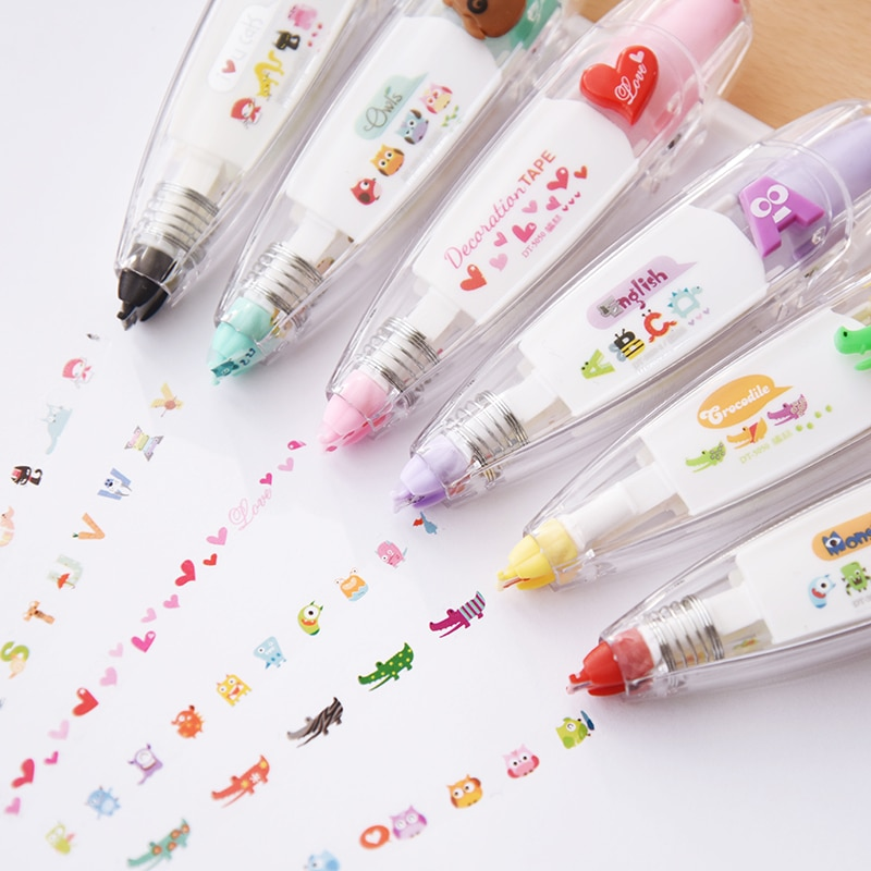 Kawaii Animals cat Press Type Decorative Correction Tape Scrapbooking Diary Stationery School Supply
