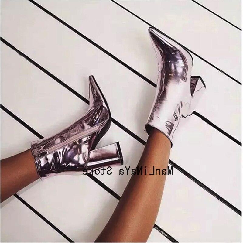 Botines de tacón puntiagudos cuadrados morados botas de cuero de estilo británico con cremallera lateral botas de charol Sexy para mujer zapatos de fiesta