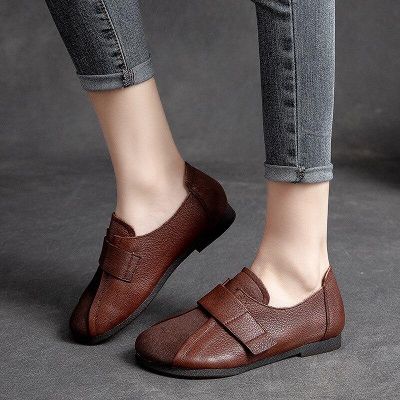 الربيع والخريف الرجعية الفيلكرو أحذية السيدات عادي الطبقة العليا جلد البقر مريحة تنفس لينة حذا فردي للسيدات أحذية للنساء