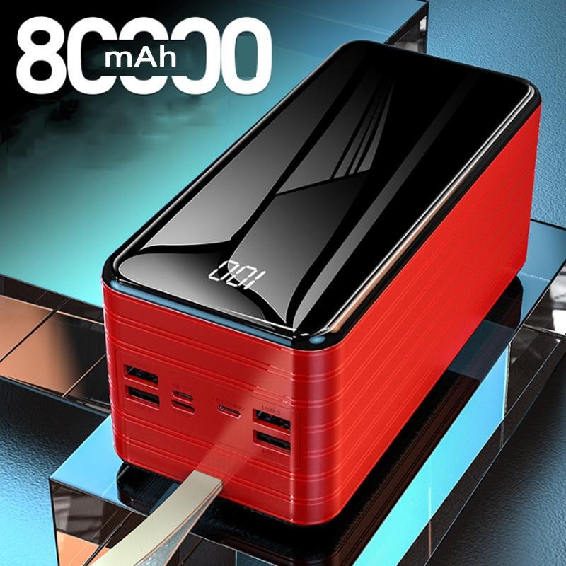 باور بانك 80000 mAh قابل للنقل شحن سريع بنك فقير LED هاتف محمول بطارية خارجية شاحن Powerbank 80000 mAh for شاومي Mi