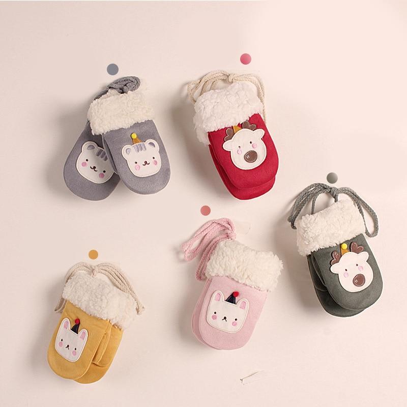 Crianças luvas de inverno quente luvas de malha unisex bonito dos desenhos animados urso pendurar pescoço luvas do bebê da menina do menino
