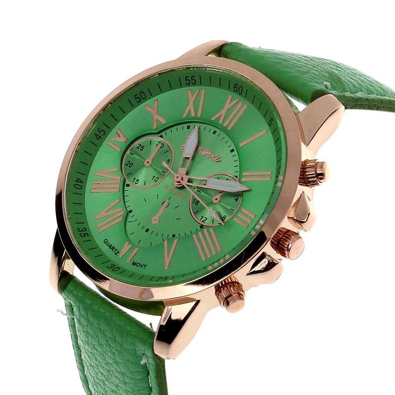 Elegant Women's Quartz Wristwatches Vintage Roman Numerals Green Faux Leather Analog Quartz Watch Д