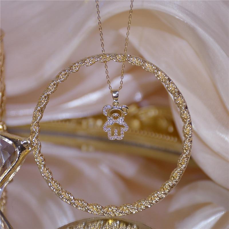 Coreano Moda Exquisite Brilhante de Cristal Colar de Pingente de Urso Feminilidade Moda Corrente de Ouro Clavícula Gargantilha Jóias Novo Presente