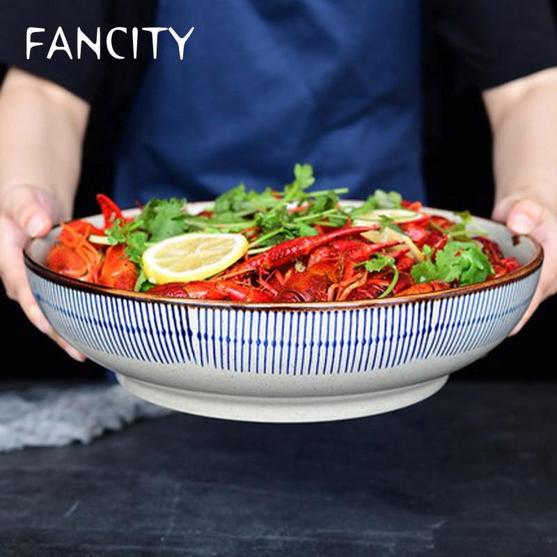 FANCITY-أدوات مائدة سيراميك مطلية يدويًا على الطريقة اليابانية ، وعاء شوربة كبير مع خط أزرق ، للملفوف والسمك ، وعاء مطهي